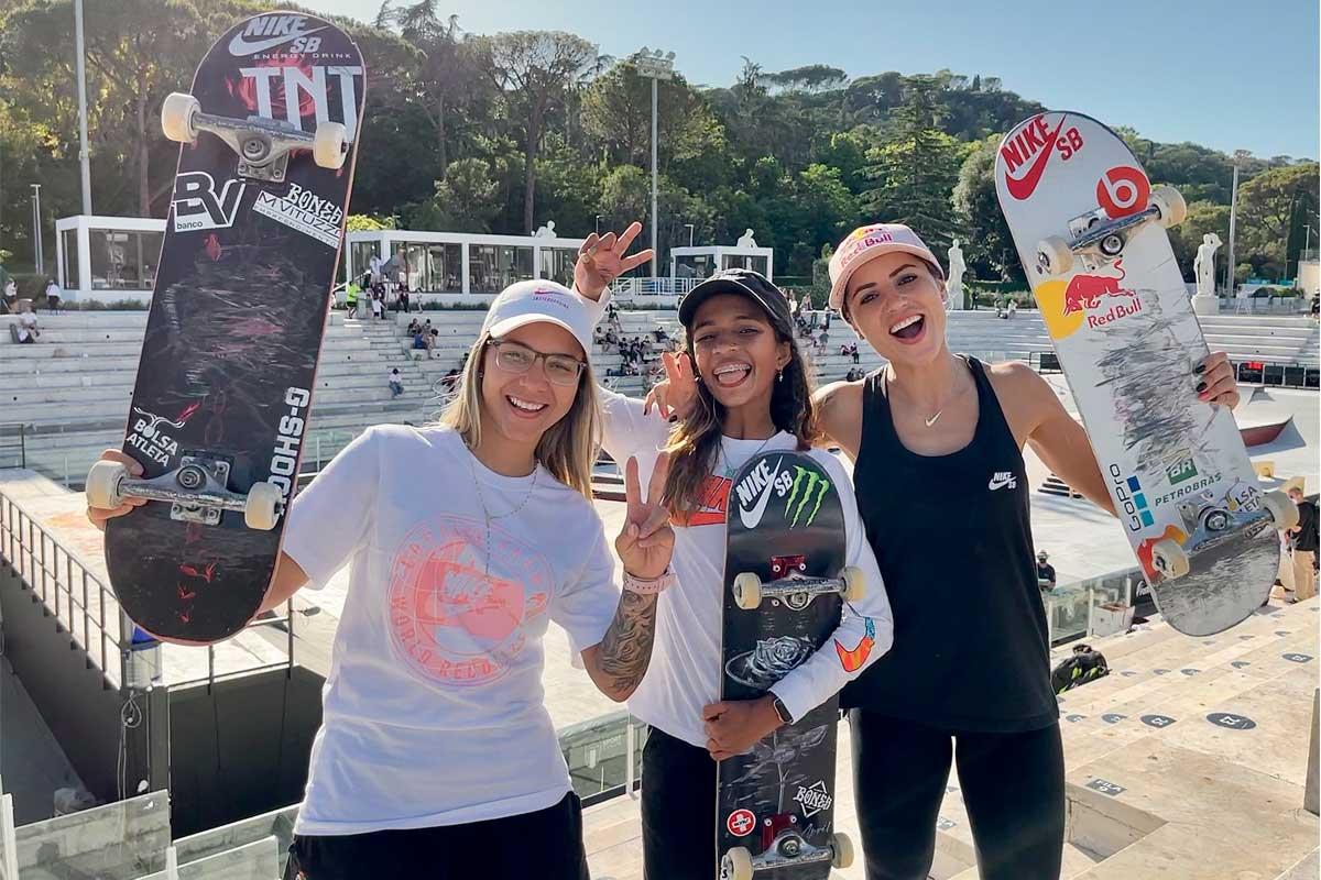 Finalistas de skate Pâmela Rosa, Rayssa Leal e Leticia Bufoni