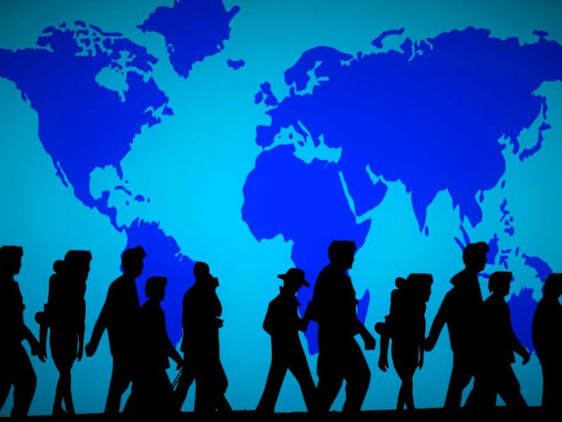 Arte de Mapa mundial com refugiados