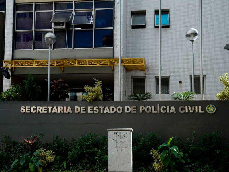 Faixada do prédio da Secretaria de Estado da Polícia Civil